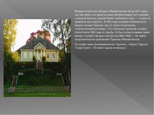 Впервые юный поэт побывал в Михайловском летом 1817 года и, как сам писал он...