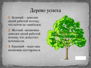 Дерево успеха 1. Зеленый – доволен своей работой потому, что почти не ошибалс