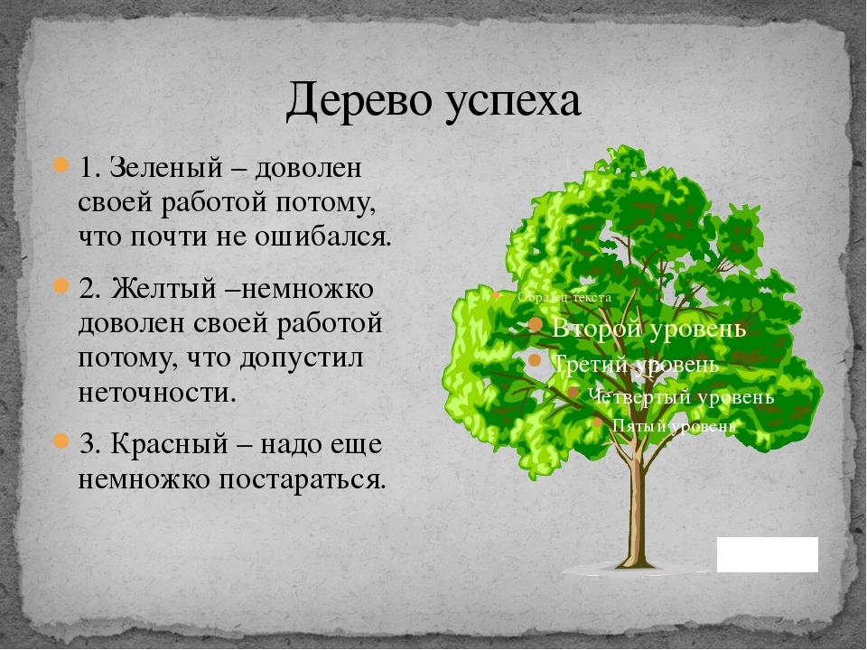 Дерево успеха 1. Зеленый – доволен своей работой потому, что почти не ошибалс...