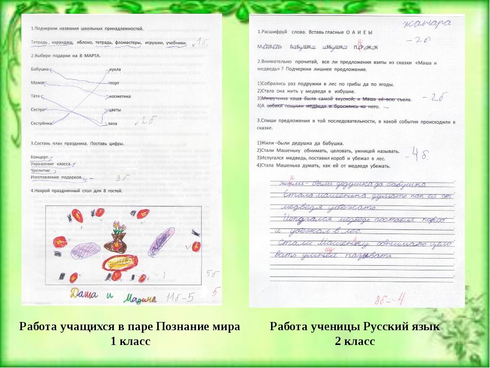 Работа учащихся в паре Познание мира 1 класс Работа ученицы Русский язык 2 кл...
