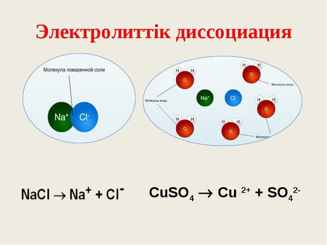 Электролиттік диссоциация CuSO4  Cu 2+ + SO42-