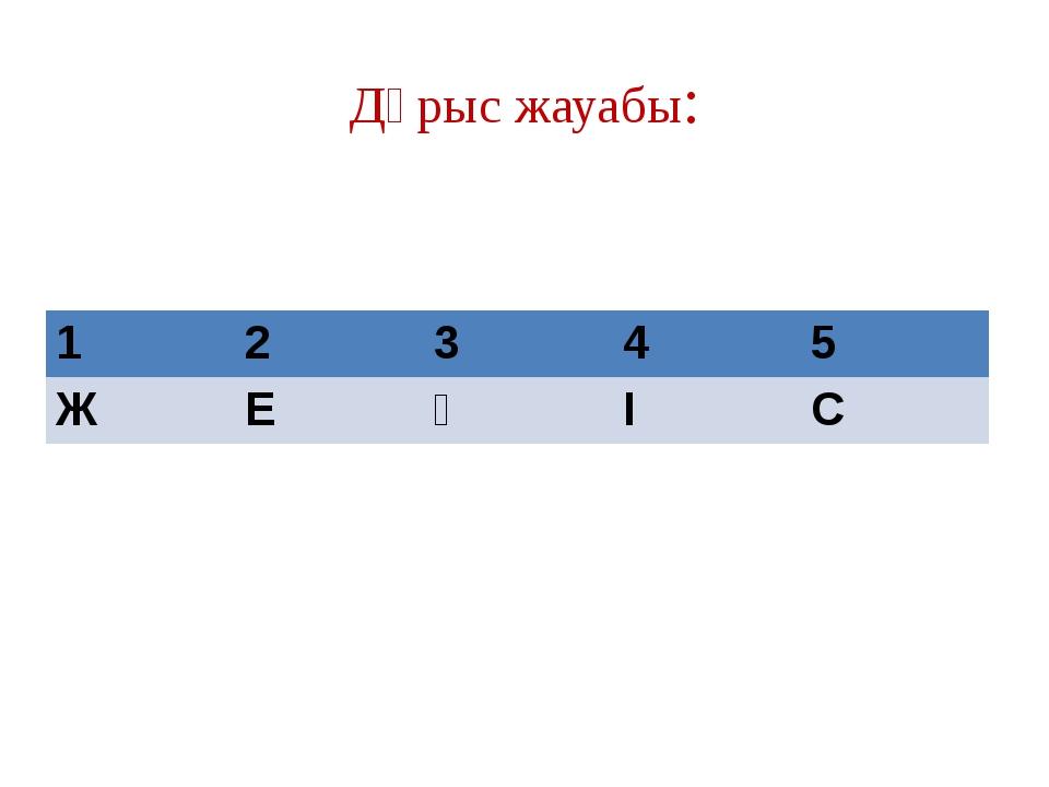 Дұрыс жауабы: 1 2 3 4 5 Ж Е Ң І С