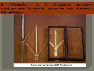 В Гейдельберге Д. И. Менделеев исследует поверхностное натяжение жидкостей пр