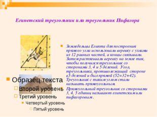 Египетский треугольник или треугольник Пифагора Земледельцы Египта для постро