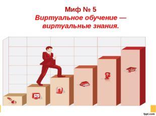 Миф № 5 Виртуальное обучение — виртуальные знания.