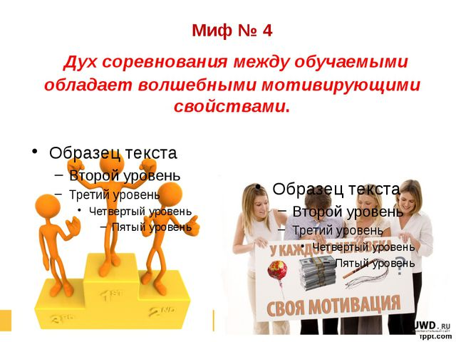Миф № 4 Дух соревнования между обучаемыми обладает волшебными мотивирующими с...