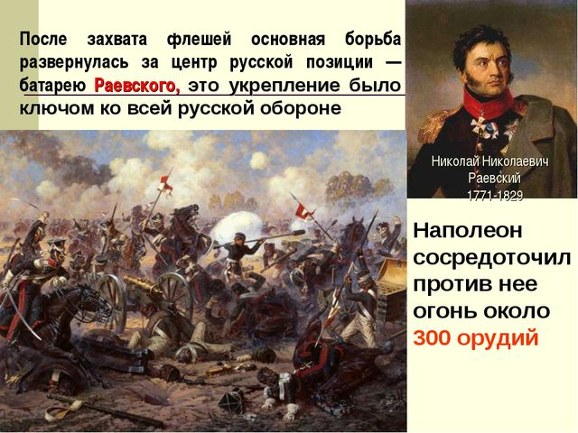 После захвата флешей основная борьба развернулась за центр русской позиции —...