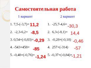 Самостоятельная работа 11,2 -8,5 -0,29 -85 -1,24 -30,3 14,4 -0,46 -57 -1,21 1