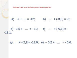 Подберите такое число, чтобы получилось верное равенство: а) -7 + … = -12; б