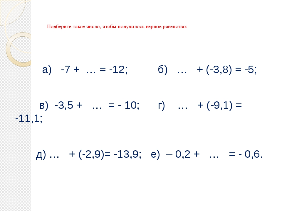 Подберите такое число, чтобы получилось верное равенство: а) -7 + … = -12; б...