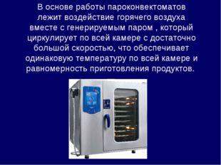 В основе работы пароконвектоматов лежит воздействие горячего воздуха вместе с