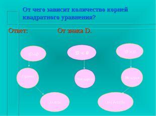 От чего зависит количество корней квадратного уравнения? Ответ: От знака D.