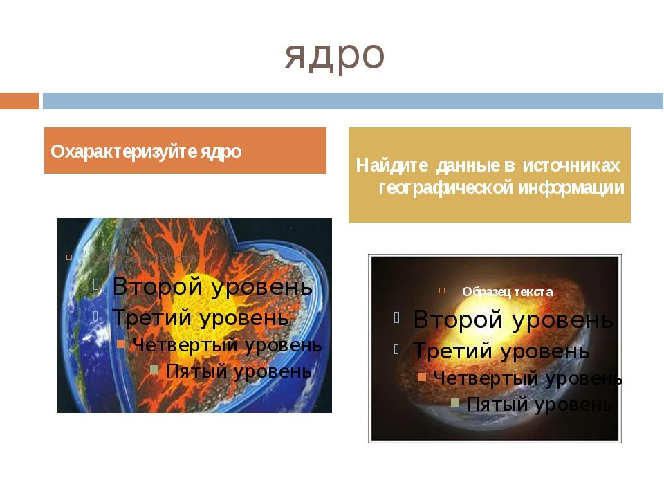 ядро Охарактеризуйте ядро Найдите данные в источниках географической информации