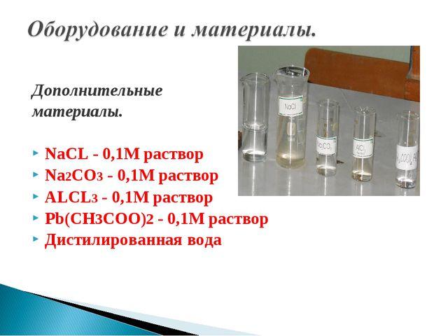 Дополнительные материалы. NaCL - 0,1M раствор Na2CO3 - 0,1M раствор ALCL3 - 0...