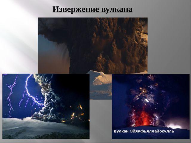 Извержение вулкана вулкан Эйяафьяллайокулль