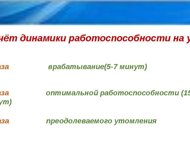 Учёт динамики работоспособности на уроке 1 фаза врабатывание(5-7 минут) 2 фаз...