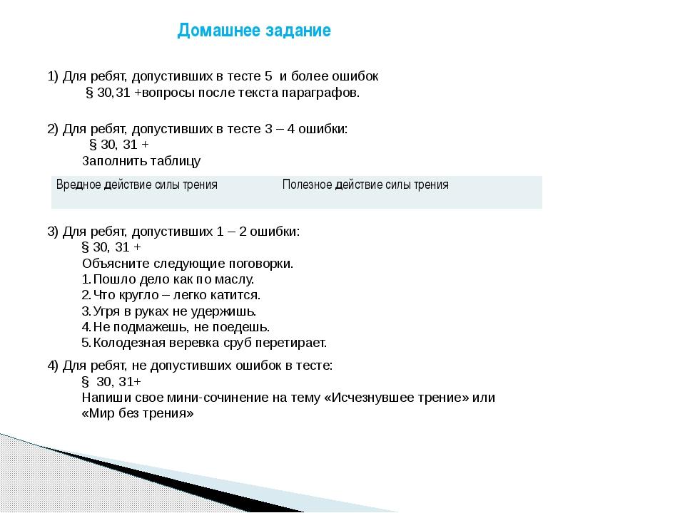 1) Для ребят, допустивших в тесте 5 и более ошибок  § 30,31 +вопросы после т...