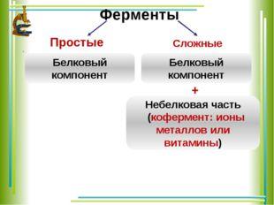Ферменты Простые .  Сложные Белковый компонент Белковый компонент Небелков