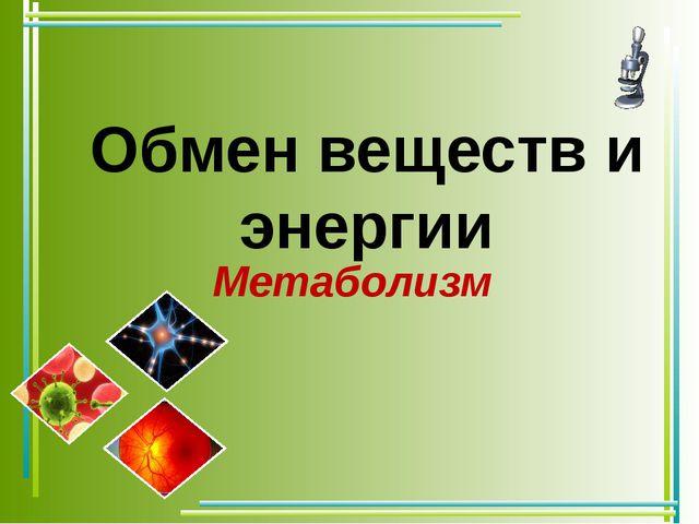 Обмен веществ и энергии Метаболизм