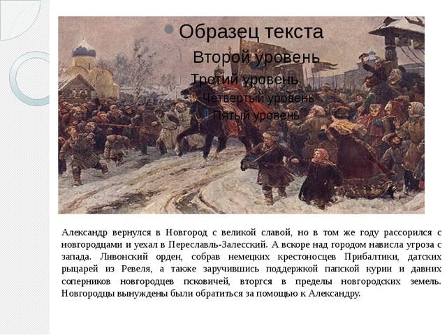 Александр вернулся в Новгород с великой славой, но в том же году рассорился с...