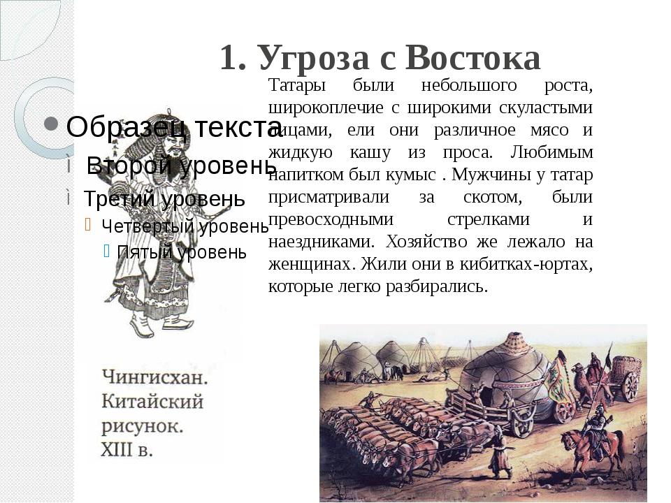 1. Угроза с Востока Татары были небольшого роста, широкоплечие с широкими ску...