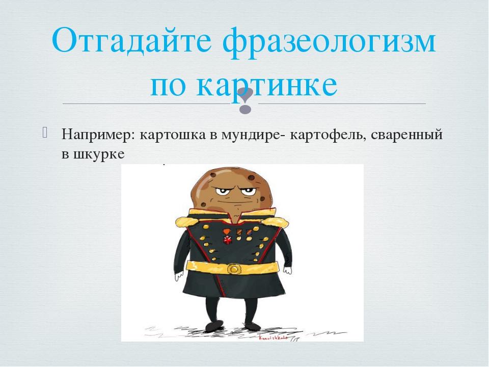 Например: картошка в мундире- картофель, сваренный в шкурке Отгадайте фразеол...