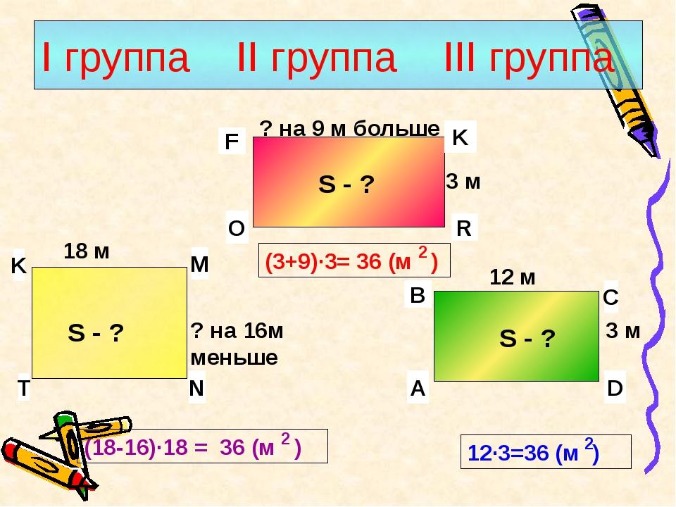I группа II группа III группа S - ? 3 м ? на 9 м больше S - ? S - ? 12 м 3 м...