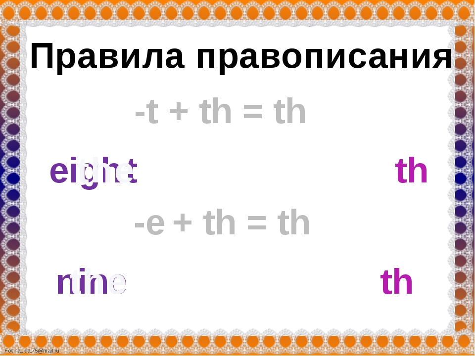 Правила правописания = th -t t th eigh the + th e th nin the = th -e + th Fok...