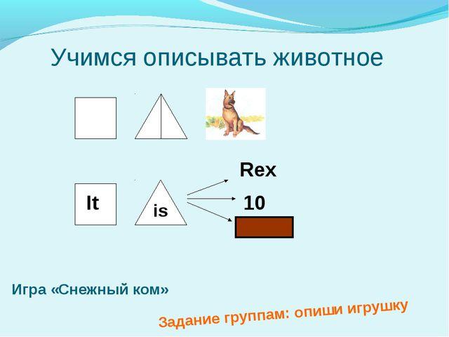 Учимся описывать животное is It Rex 10 Игра «Снежный ком» Задание группам: о...