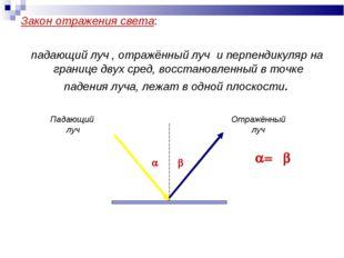 Закон отражения света: падающий луч , отражённый луч и перпендикуляр на грани