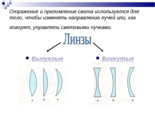 Отражение и преломление света используется для того, чтобы изменять направлен