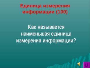 Единица измерения информации (100) Как называется наименьшая единица измерени