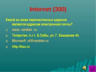 Internet (300) Какой из ниже перечисленных адресов является адресом электронн