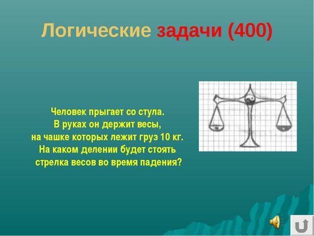 Логические задачи (400) Человек прыгает со стула. В руках он держит весы, на...
