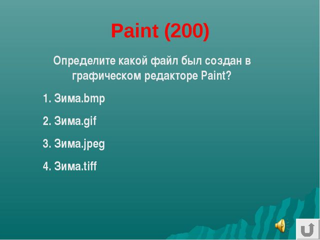 Paint (200) Определите какой файл был создан в графическом редакторе Paint? 1...