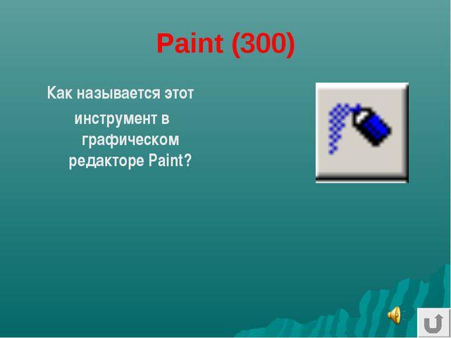 Paint (300) Как называется этот инструмент в графическом редакторе Paint?
