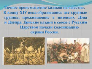 Точное происхождение казаков неизвестно. К концу XIV века образовались две кр
