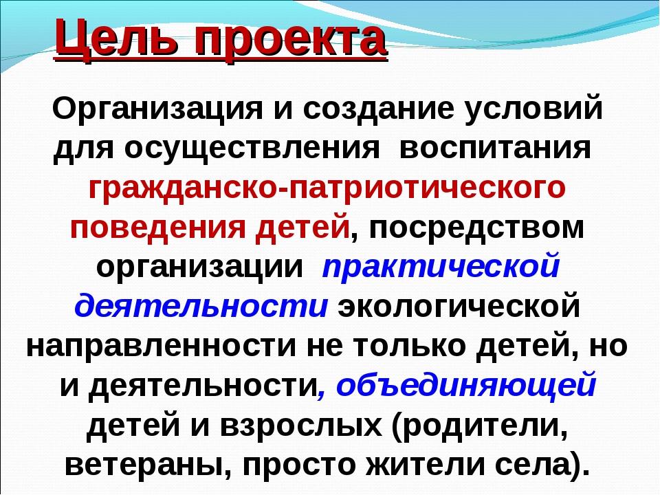 Цель проекта Организация и создание условий для осуществления воспитания граж...