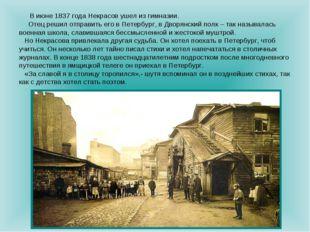 В июне 1837 года Некрасов ушел из гимназии. Отец решил отправить его в Петер