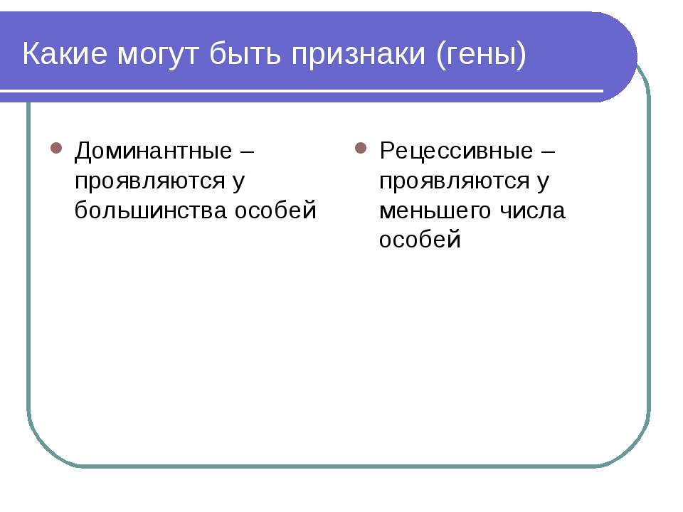 Какие могут быть признаки (гены) Доминантные – проявляются у большинства особ...