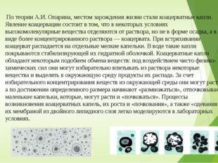 По теории А.И. Опарина, местом зарождения жизни стали коацерватные капли. Яв