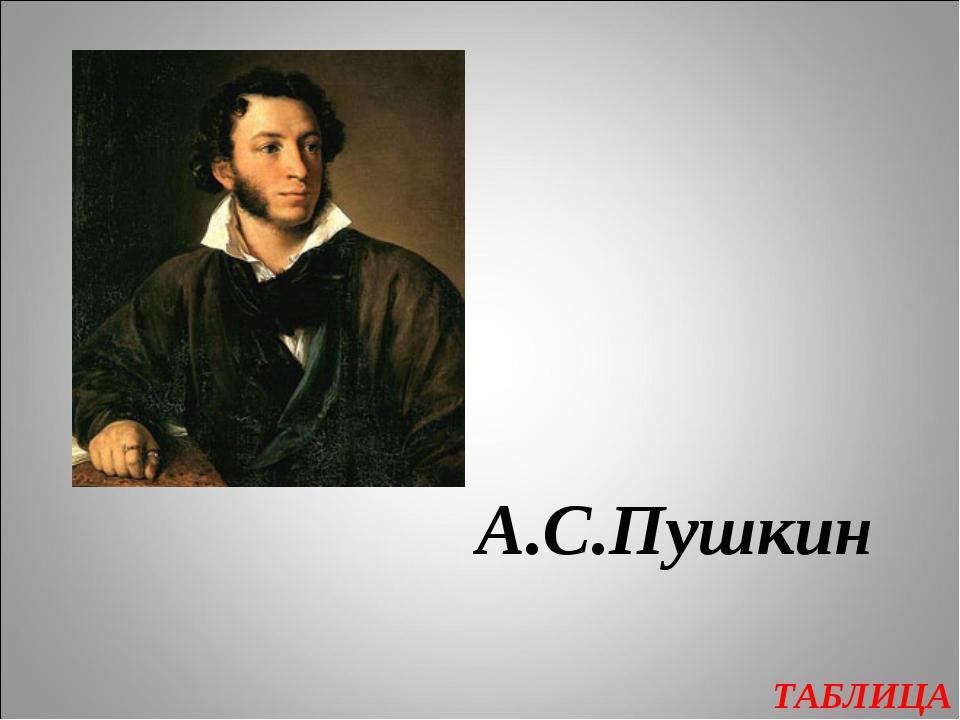 ТАБЛИЦА А.С.Пушкин