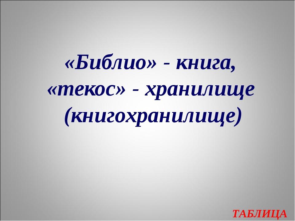 ТАБЛИЦА «Библио» - книга, «текос» - хранилище (книгохранилище)