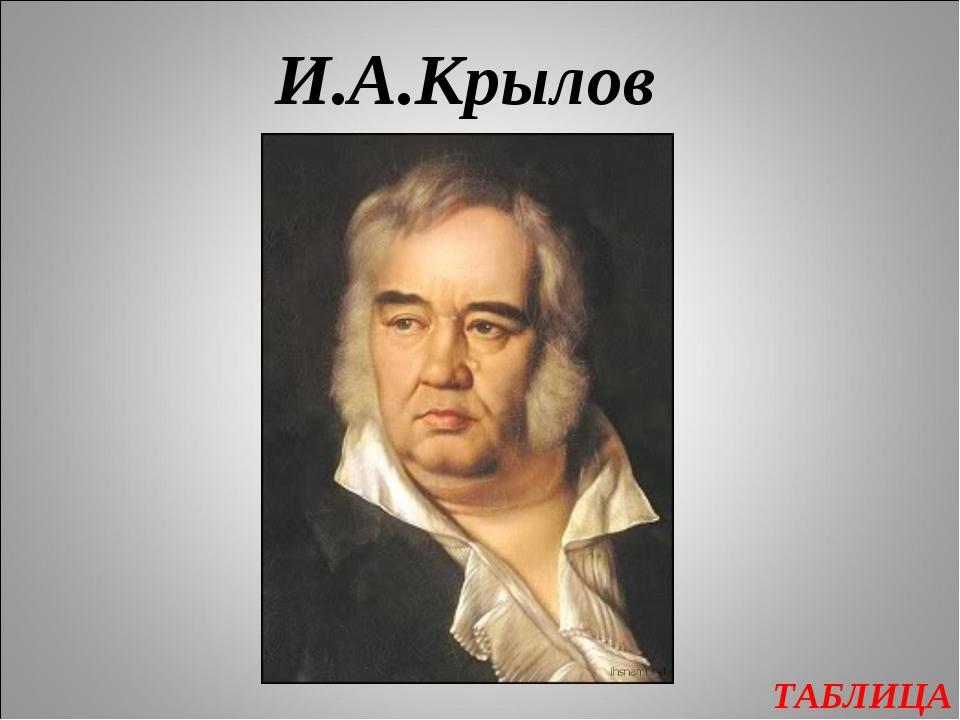 ТАБЛИЦА И.А.Крылов