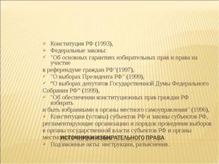 """Конституция РФ (1993), Федеральные законы: """"Об основных гарантиях избирательн"""