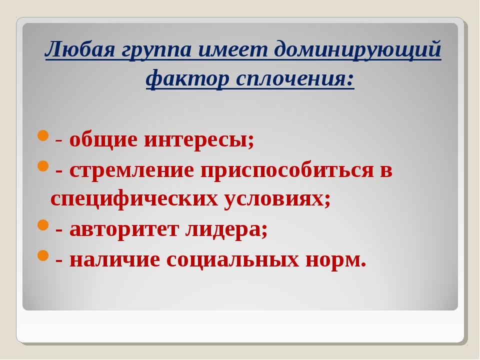 Любая группа имеет доминирующий фактор сплочения: - общие интересы; - стремле...