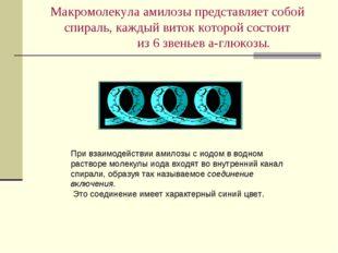 Макромолекула амилозы представляет собой спираль, каждый виток которой состои