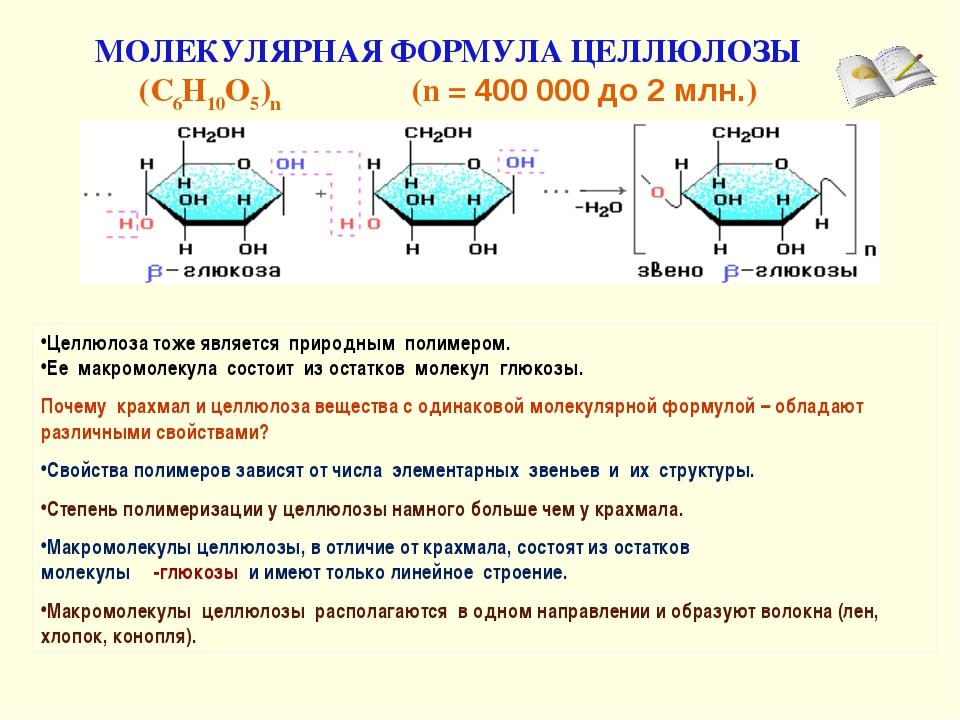 МОЛЕКУЛЯРНАЯ ФОРМУЛА ЦЕЛЛЮЛОЗЫ (C6H10O5)n (n = 400 000 до 2 млн.) Целлюлоза т...