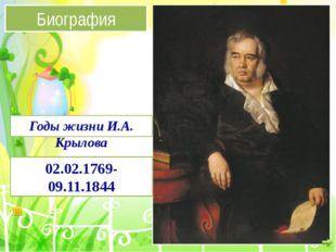Биография 02.02.1769-09.11.1844 Годы жизни И.А. Крылова