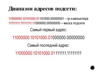 Диапазон адресов подсети: 11000000.10101000.01101000.00000001 – ip компьютера